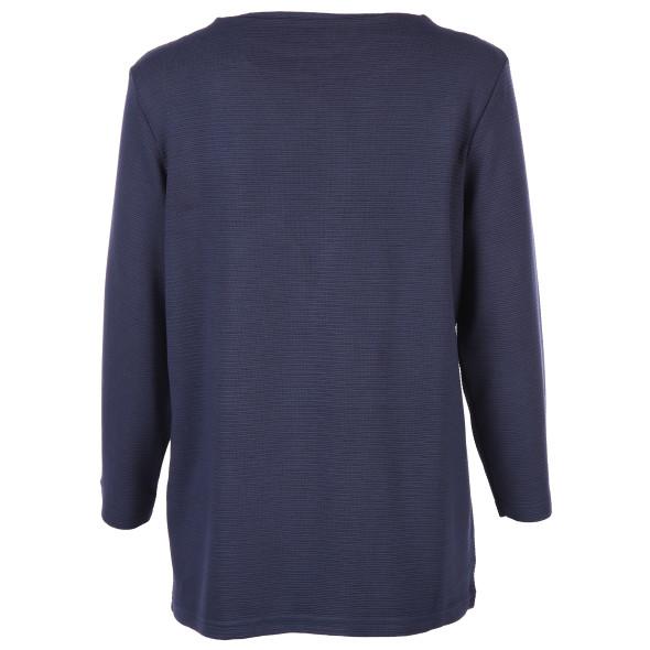 Damen Sweatshirt in Ripp Optik mit 3/4 langem Arm
