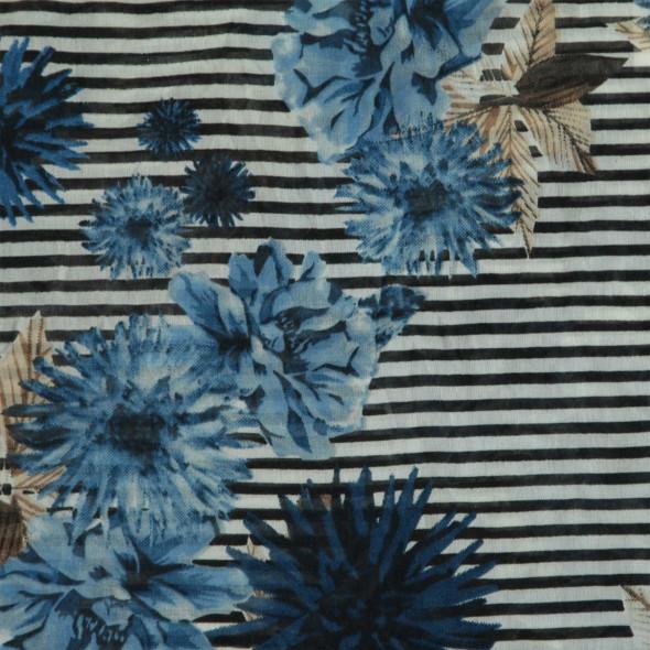 Damen Loopschal mit Blumen und Streifen