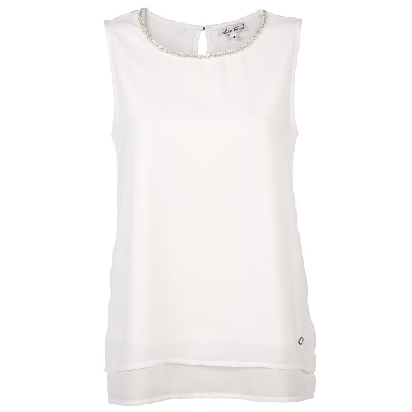 Damen Top mit Perlenapplikation