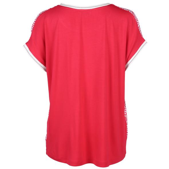 Damen Shirt im Materialmix mit Glitzerbündchen