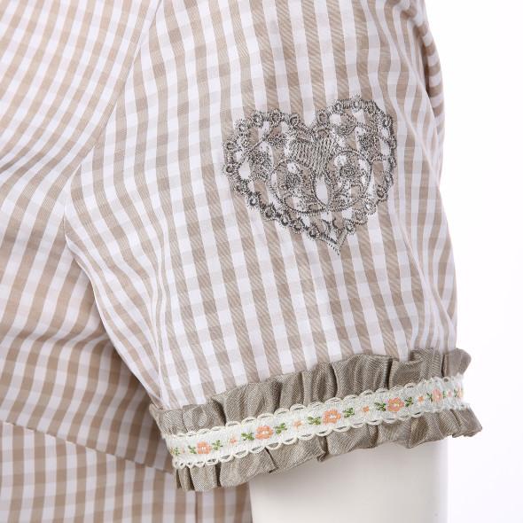 Damen Trachtenbluse in Vichykaro mit Zierborte