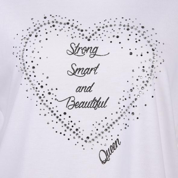Große Größen Shirt mit Glitzerschrift und Glitzersteinchen