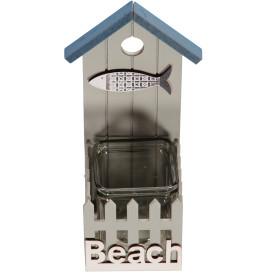 Teelichthalter als Strandhaus 8,5x9x23,5cm