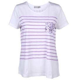 Damen Shirt mit Streifen und Brusttasche