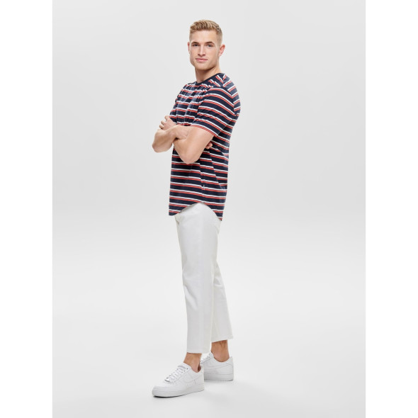 Only&Sons ONSPALATINE SS LONGY T-Shirt im Ringellook