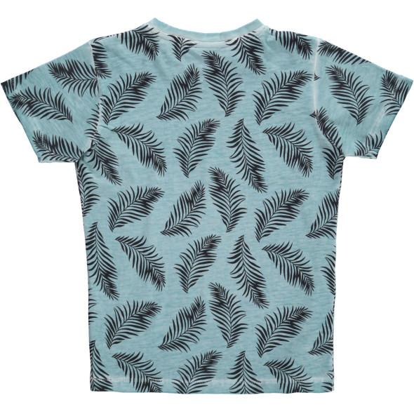 Jungen Shirt mit Blätterprint allover