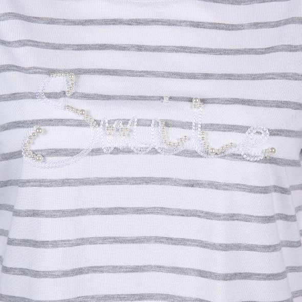 Damen Shirt mit Stickerei und Perlenbesatz