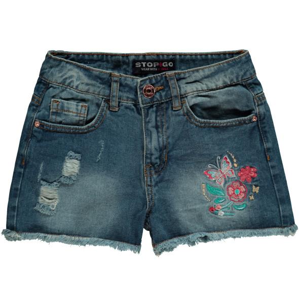 Mädchen Jeans Shorts mit Stickerei