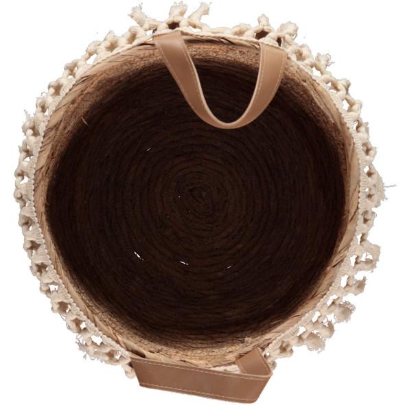 Korb mit Makrameefransen 26x21x26cm