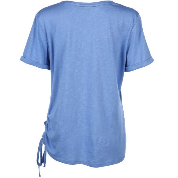 Damen Shirt mit Frontprint und Raffung