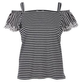 Damen Shirt mit Streifen und offener Schulter