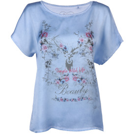 Damen Trachtenshirt im Materialmix mit Frontprint