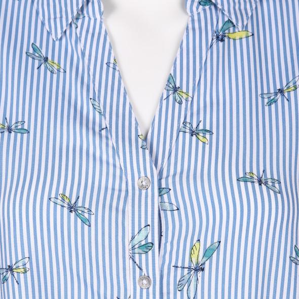 Damen Bluse mit Streifen und Libellenprint