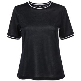 Damen Shirt im Glitzerlook mit gestreiften Bündchen