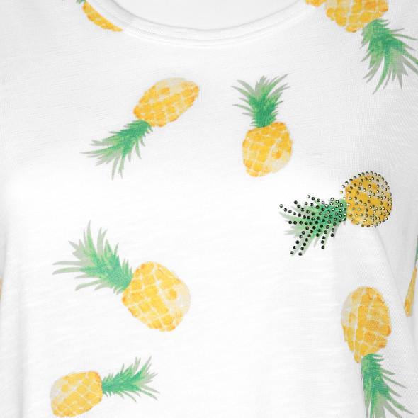 Damen Shirt mit Allover Print und Glitzersteinchen