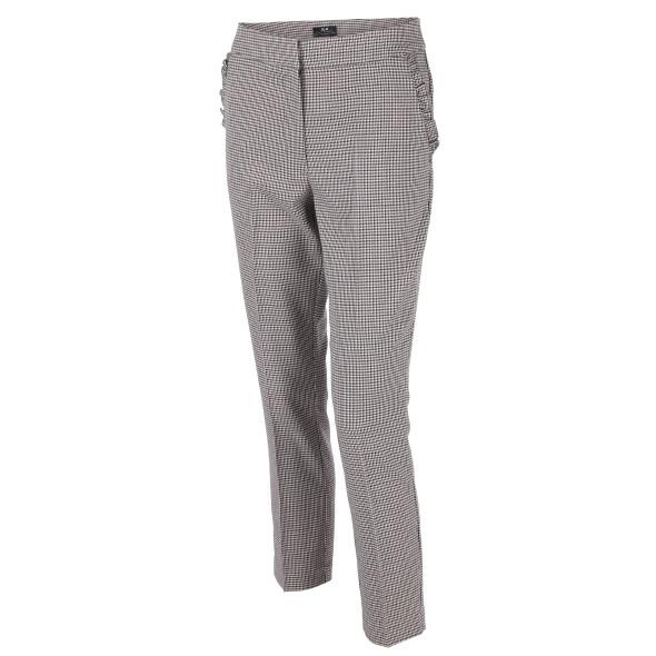 Damen Hose schwarz-weiß-gemustert
