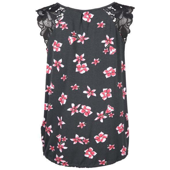 Damen Top mit floralem Print und Spitzenbesatz
