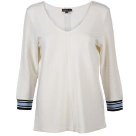 Damen Struktur Shirt mit gestreiften Bündchen