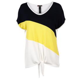 Damen Shirt mit Knotendetail im Colourblocking