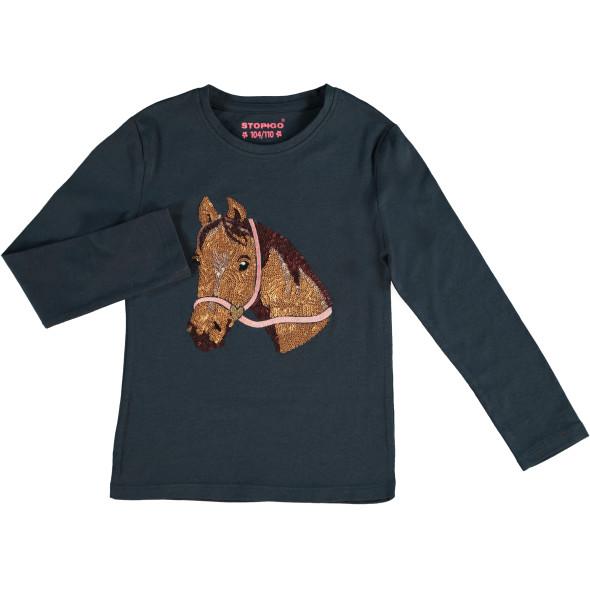 Mädchen Longsleeve mit Pferdemotiv