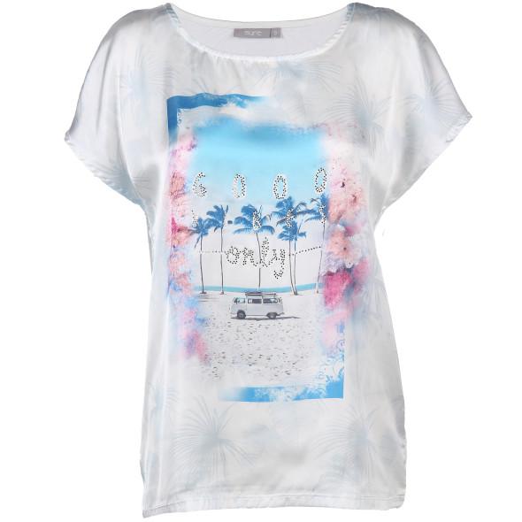 Damen Shirt mit Print und Glitzersteinchen
