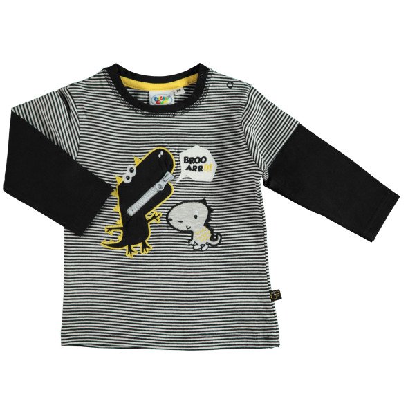 Baby Langarmshirt im 2in1Look mit Stickerei-Applikation