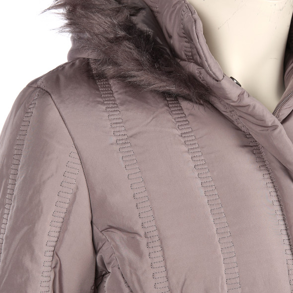 Große Größen Jacke mit abknöpfbarer Kapuze und Kunstfell