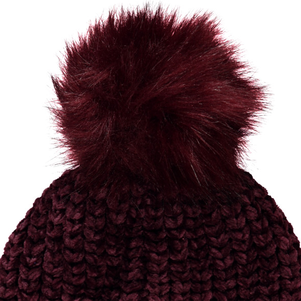 Damen Chenille Mütze mit Bommel