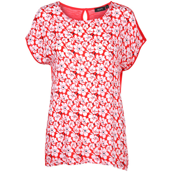 Damen Shirt im Materialmix mit floralem Print