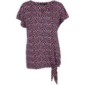 Damen Shirt mit Knotendetail und Allover Print