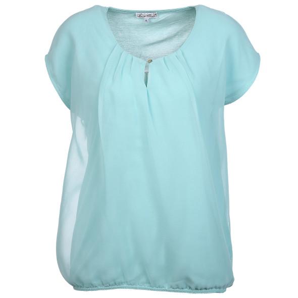 Damen Blusenshirt im Materialmix