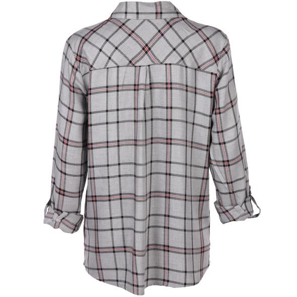 Damen Karo-Bluse mit Krempelfunktion