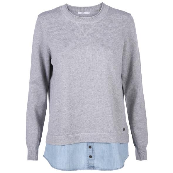 damen pullover damen pullover mit blusenbesatz  grau  awg mode  damen pullover mit blusenbesatz  grau