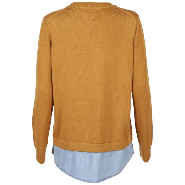 Damen Pullover mit Blusenbesatz