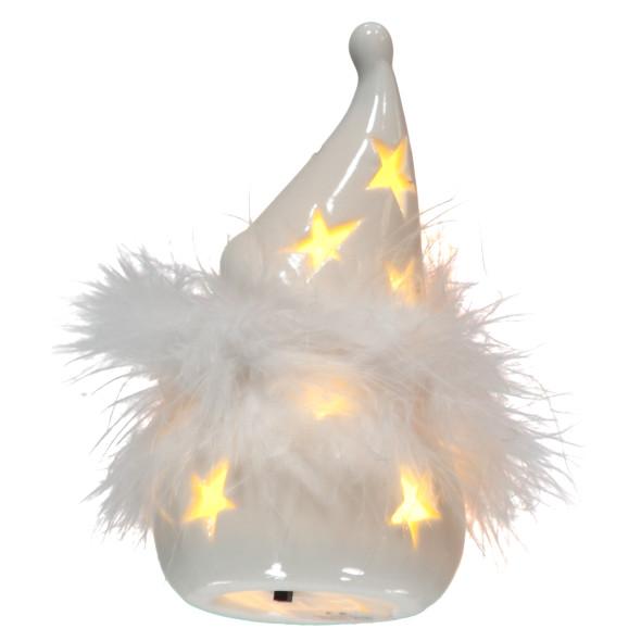 Porzellan Schneemann mit LED-Beleuchtung 12cm hoch