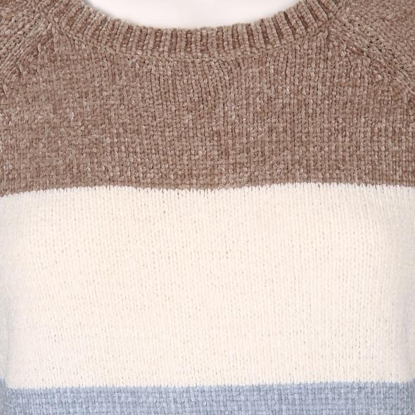 Damen Chenille Pullover mit Streifen