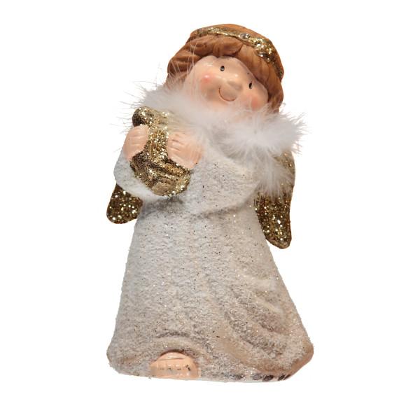 Kermikfigur Engel mit LED-Beleuchtung 20cm