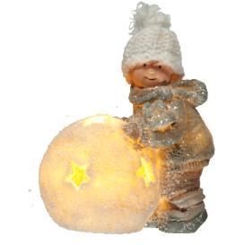 Kinderfigur mit Ball und LED-Beleuchtung