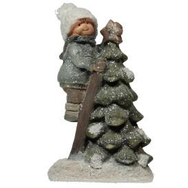 Deko-Figur Junge und Baum, 22cm