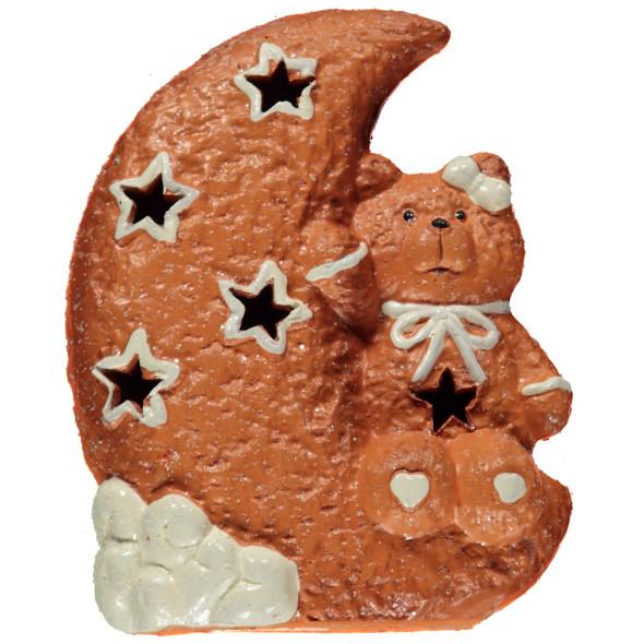 Keramik Bär - Kuchen Motiv als Teelichthalter 13,5x7,5x17cm