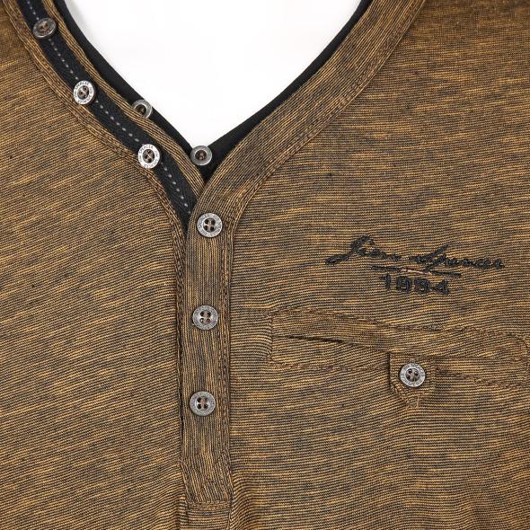 Herren Langarmshirt mit Tasche und Knopfleiste