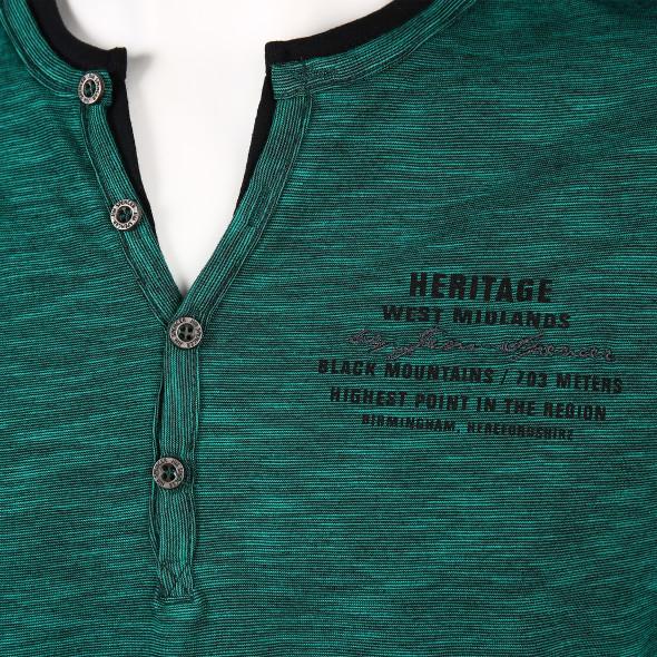 Herren Henleyshirt in melierter Optik