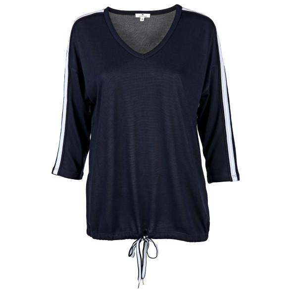 Damen Shirt mit Bindeband am Saum