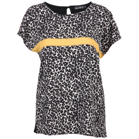 Damen Materialmix Shirt mit Leoprint