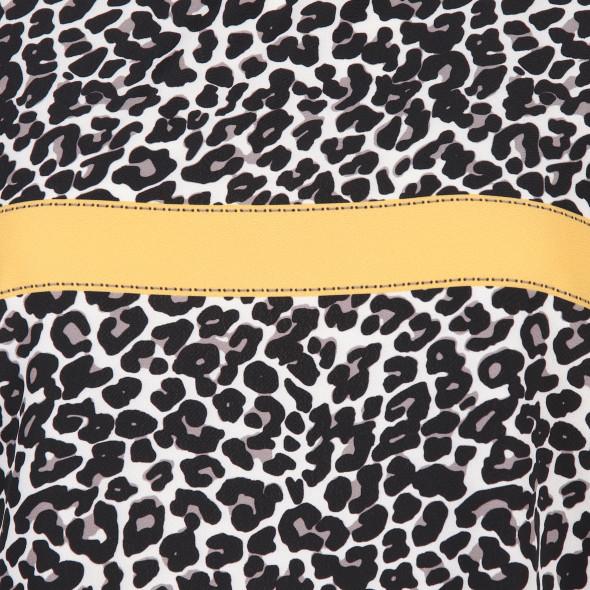Damen Materialmix Shirt mit Leoprint