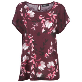 Damen Materialmix Shirt mit Blumenprint