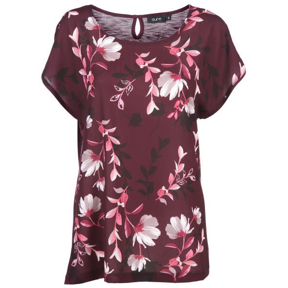 Damen Materialmix Shirt mit Blumenprint