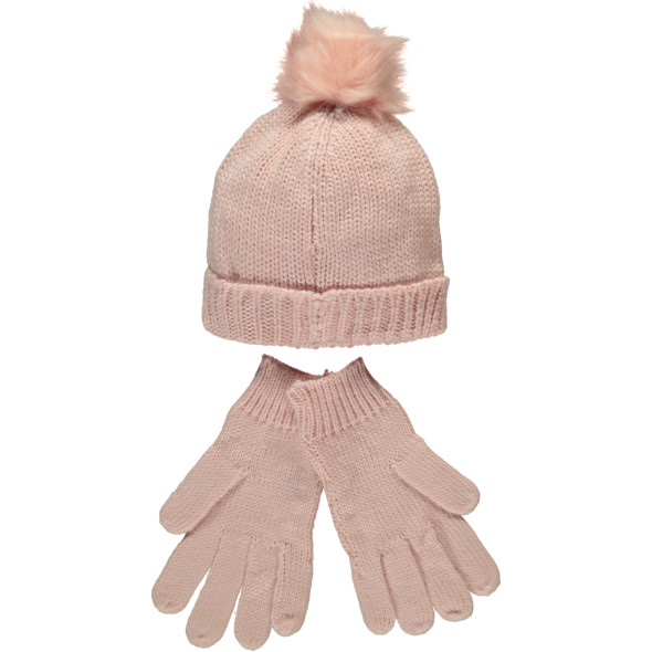 Mädchen Strickset, best. aus Mütze und Handschuhe