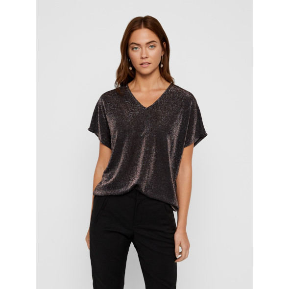 Vero Moda VMDENISE SS V-NECK TO Glitzershirt