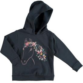Mädchen Sweatshirt mit Kapuze und Pferdeprint